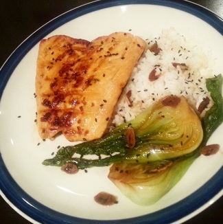 Teriyaki Salmon with Garlic Baby Bok Choy - Kitchen Ade